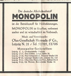 Hromada/Monopolin advert from 1930s Leipzig map