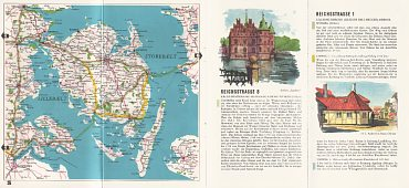ca1955 BP Welcome to Denmark - map of Funen and text