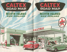 1954 Caltex map of North Island New Zealand