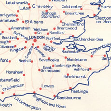 Southeast England from late 1930s Esso Diesel map of Britain