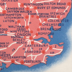 Southeast England from 1930s Pratts Diesel map of Britain