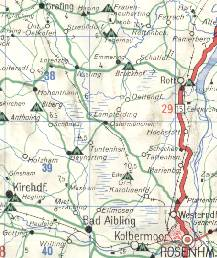 Detail from 1965 Deltin map of Bavaria