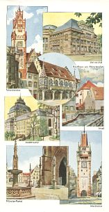 Pictures inside 1935 Shell map of Freiburg