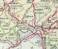 Extract from 1959 Aral map showing the Saar