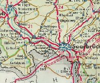 Extract from 1962 Aral map showing the Saar