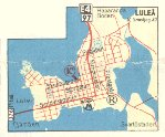 Lulea (inset) from 1962 IC map of Sweden