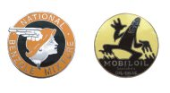 A National Benzole and a Mobiloil badge