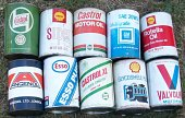 Cans on sale at the 2009 Beaulieu Autojumble, including Angenol