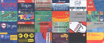 A selection of petrol company loyalty cards issued over the past 20 years