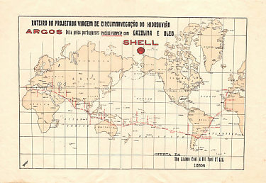 pre-1927 Shell map of the World promoting the proposed flight of the Argos seaplane
