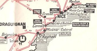 Map extract from 1929 Shell/Auto Relais map of France