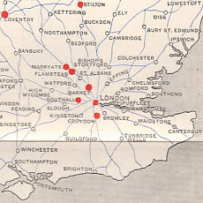 Southeast England from 1935 Shell-BP Diesel map of Britain